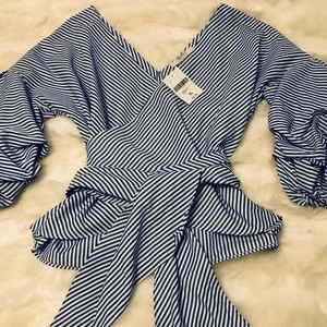 Forever 21 stripe puff sleeve blouse